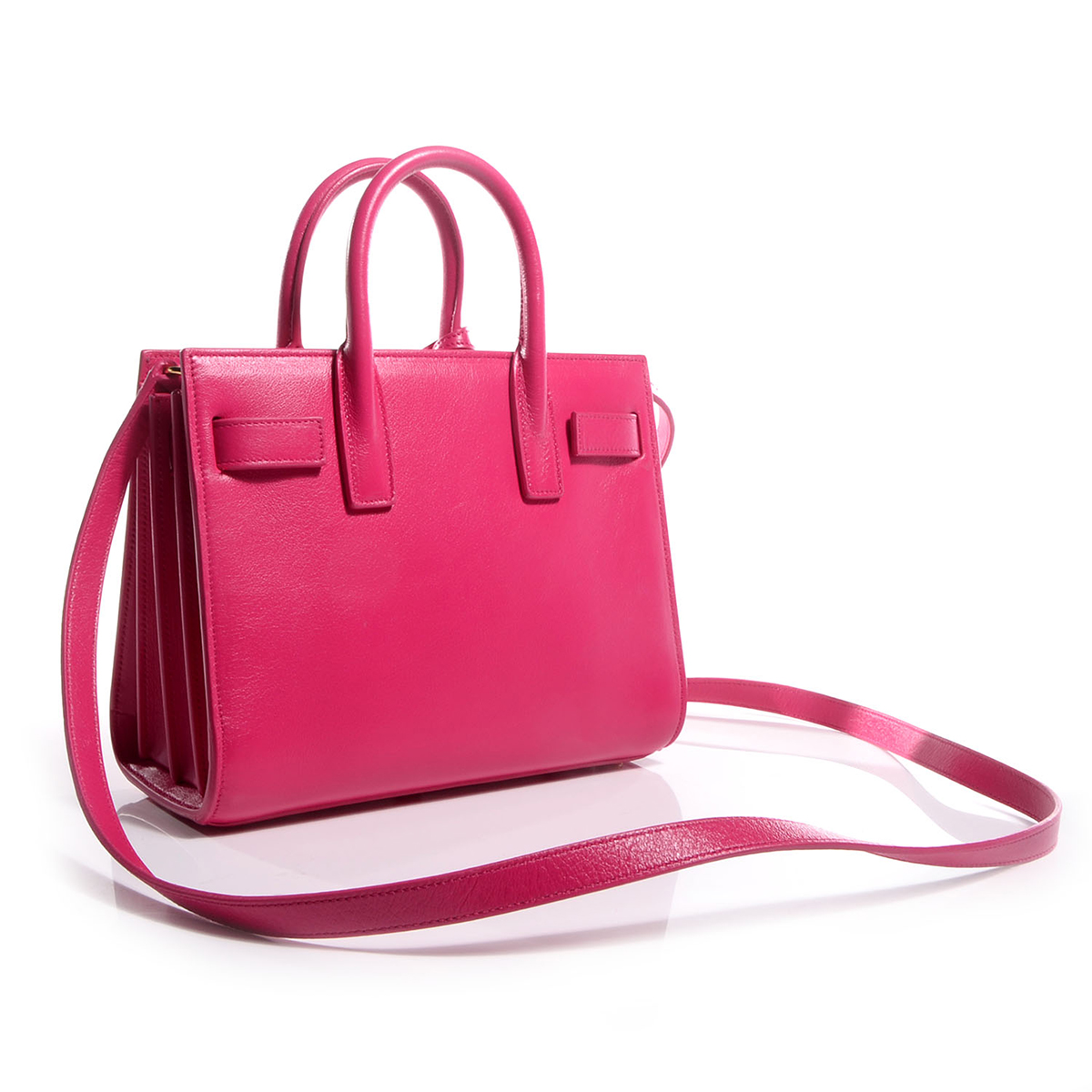 Image result for Saint Laurent Fuchsia Pink Calf Leather Classic Small Sac De Jour Satchel Bag