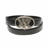YSL Belt Black Leather Silver Buckle