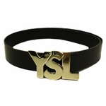 YSL Black Patent Leather Logo Belt Silver 1.5""