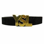 YSL Black Suede Leather Belt Gold Hardware Wide