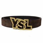 "YSL Brown Suede Gold Logo Belt 1.5""Wide"