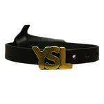 YSL Gold Logo Black Leather Bracelet