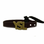 YSL Logo Burgundy Leather Bracelet