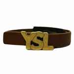 YSL Gold Logo Brown Leather Bracelet