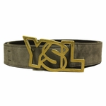 YSL Gold Logo Gray Suede Wide - Gold Outline