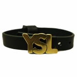 YSL Gold Logo Green Leather Bracelet