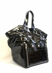 YSL Large Downtown Bag Croc Embossed Patent