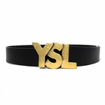 YSL Logo Belt Black Leather Gold Buckle