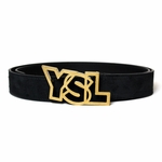 YSL Logo Belt Black Suede Open YSL Logo Buckle