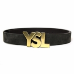 YSL Logo Belt Gray Suede Gold Buckle
