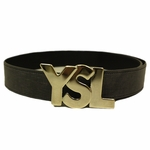 YSL Logo Belt Washed Black Textured Silver Logo 1.5""
