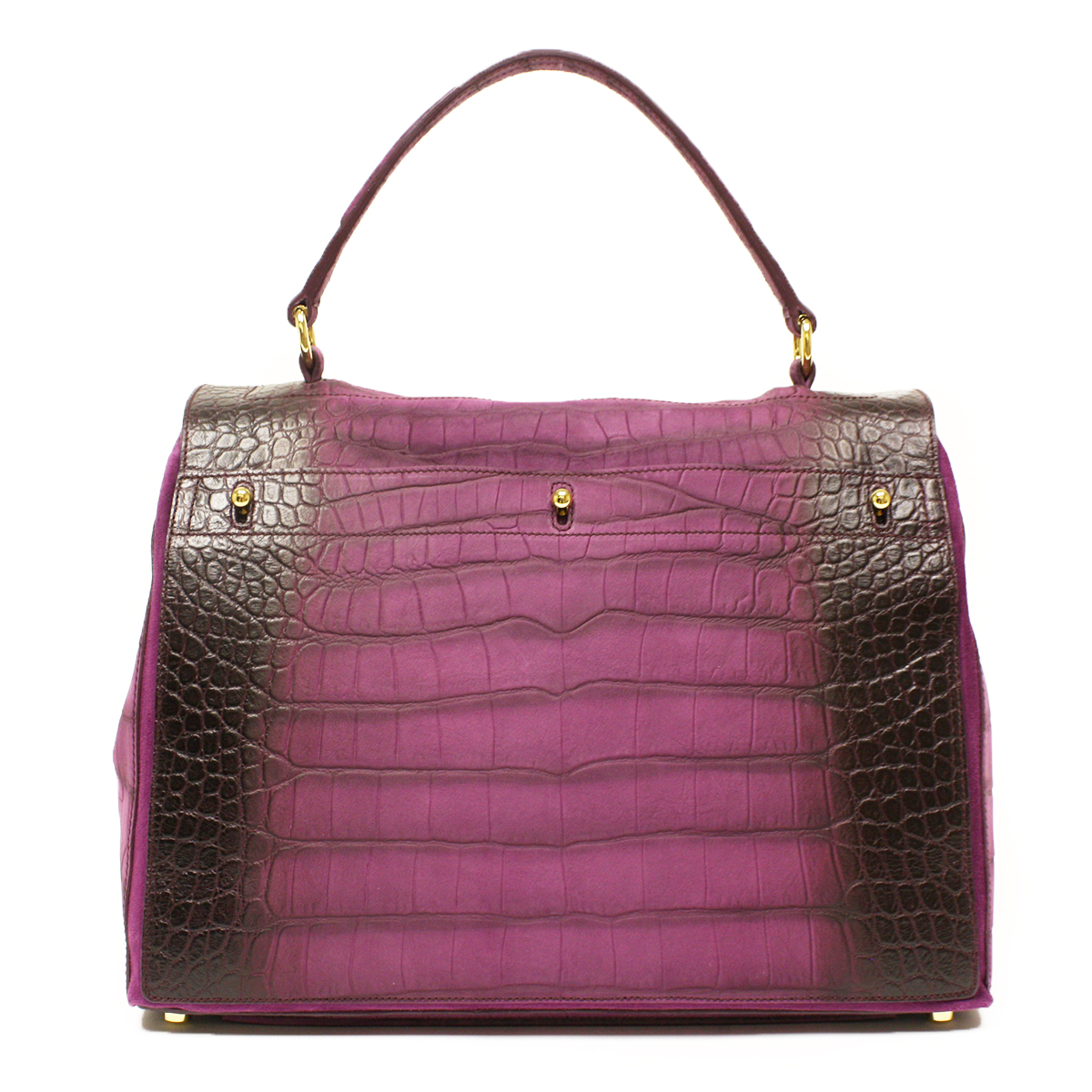 YSL Muse 2 Yves Saint Laurent Muse Two Large Purple Croc Embossed Satchel Bag 257445