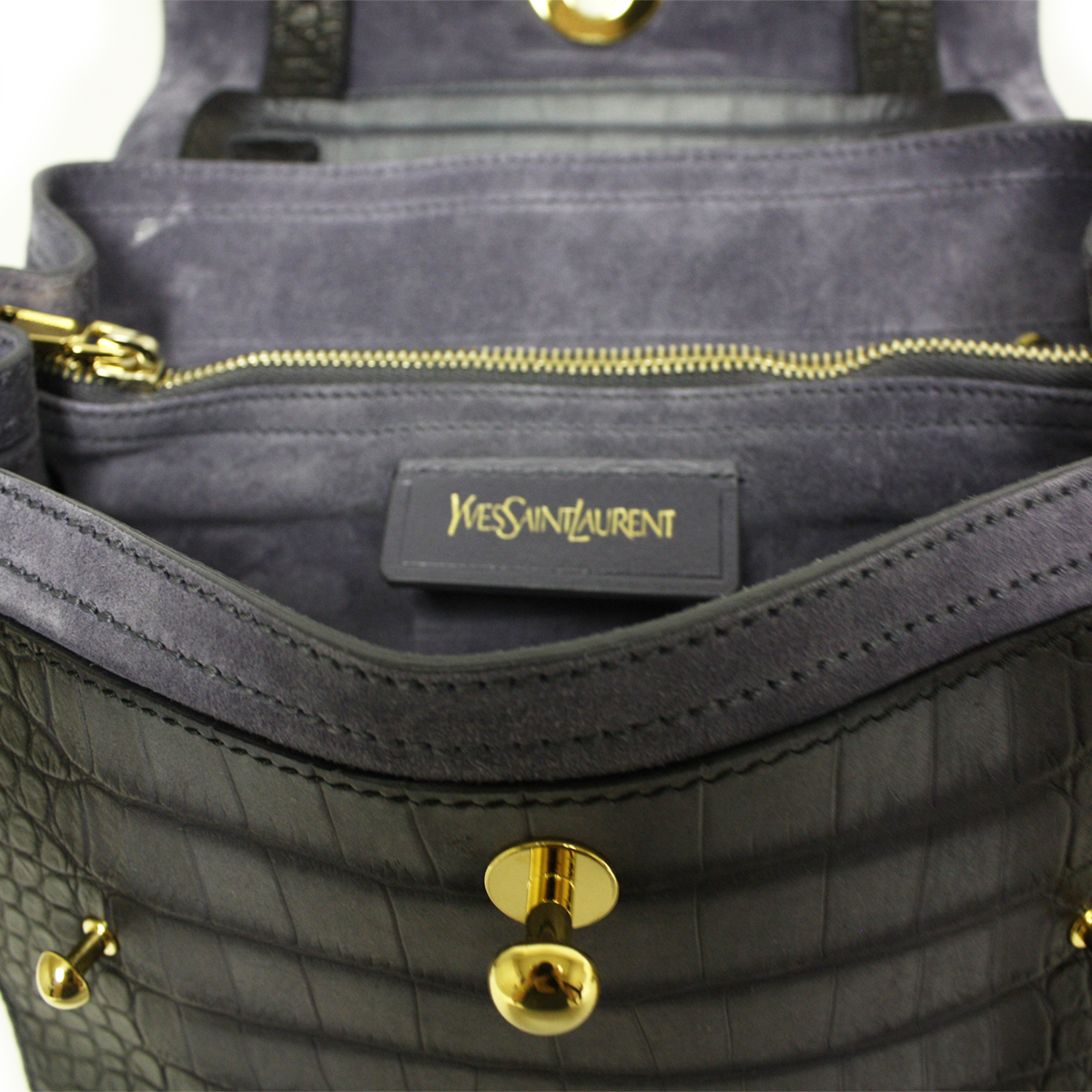 Yves Saint Laurent YSL Muse Two Small Blue Croc Satchel 348948 ...