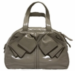 YSL Obi Bow Handbag Grey Patent Leather