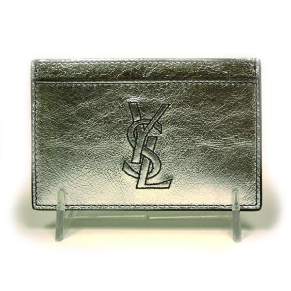 YSL Silver Leather Business Cardholder 211908
