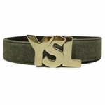 YSL Silver Logo Belt - Light Gray Flannel Wide