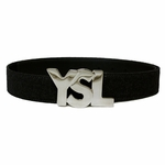 YSL Silver Logo Black Flannel and Leather 1.5""