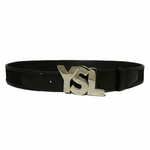 YSL Silver Logo Black Leather Mesh 1.5""