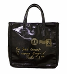 YSL Y-Mail Black Patent Leather Tote
