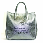 YSL Y-Mail Tote Metallic Silver