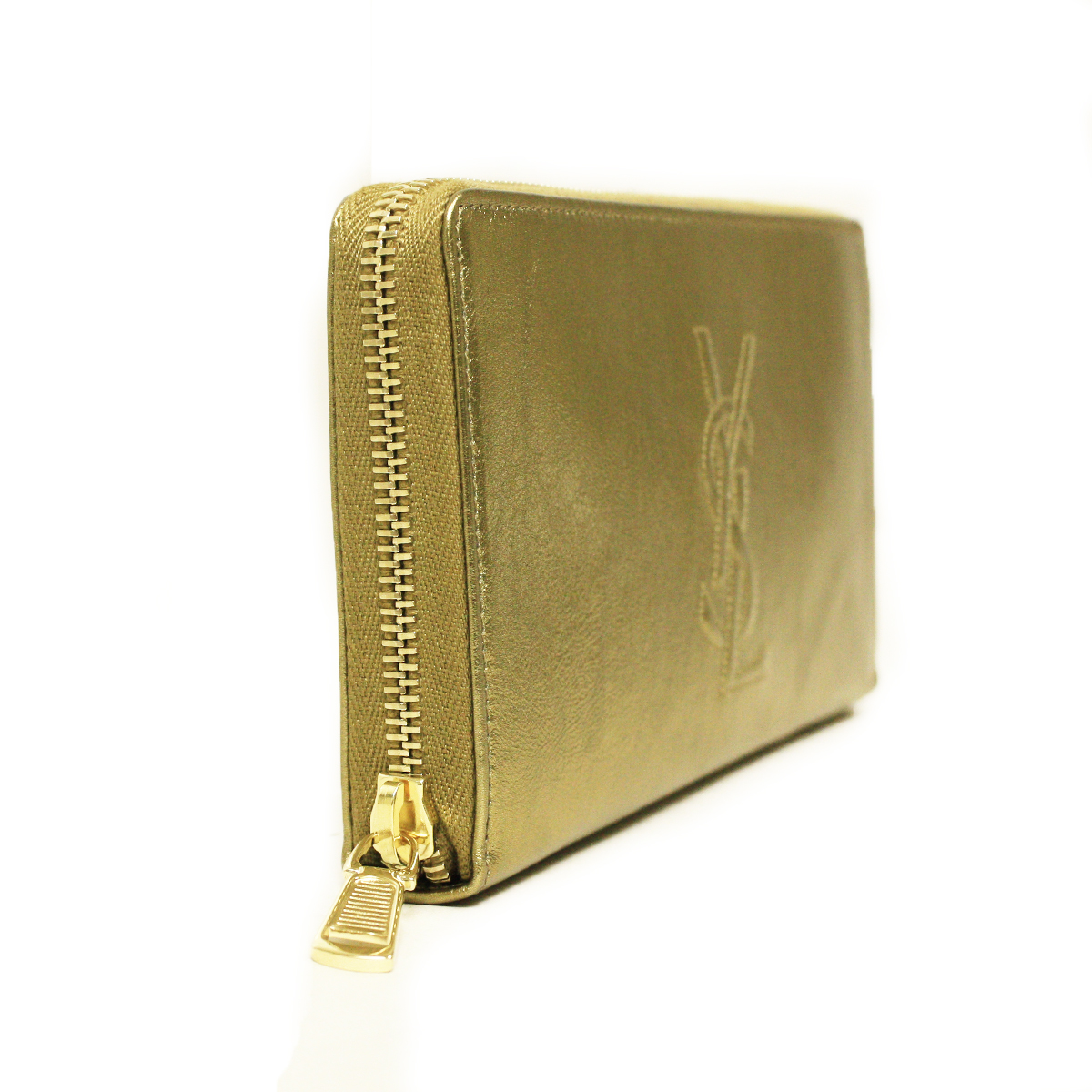 Yves Saint Laurent 352904 YSL Belle du Jour Gold Leather Logo ...