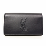 Yves Saint Laurent YSL Belle du Jour Large Clutch Bag Navy Leather