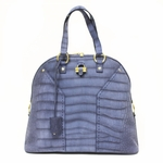 Yves Saint Laurent YSL Blue Suede Croc Print OS Muse Tote Bag 257435