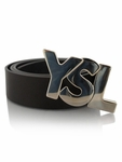 Yves Saint Laurent YSL Logo Belt for Men - Black/Silver
