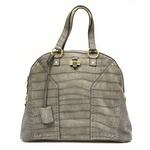 Yves Saint Laurent YSL OS Muse Croc Print Gray Suede Leather Tote 257435
