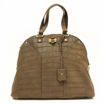 Yves Saint Laurent YSL OS Muse Dark Brown Croc Tote Bag 257435