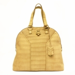 Yves Saint Laurent YSL Oversized Muse Camel Croc Tote Bag 257435