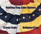 "American Flag Bunting - Cotton Tea-stained Pleated Fan Bunting 29"" wide and 17"" down"