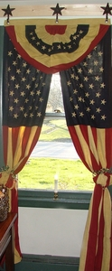 Americana - American Flag Curtain Set - Tea Stained