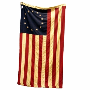 "Large Betsy Ross Flag Tea Stained 32"" x 58"""