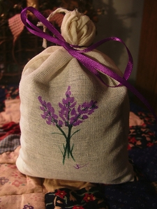 Lavender Sachet with Handpainted Art by Jody