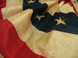 "NEW!!  Nylon Antiqued American Flag<br> Fan Bunting - 25""h x 48"" wide"