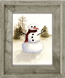 Winter: Snowman (Giclee Print on Canvas 5 x 7)