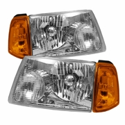 2001-2008 Ford Ranger Amber Crystal Chrome Headlights W/ Corner Lights