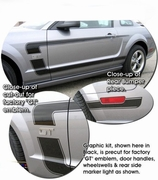 "2005-2012 Ford Mustang ""Grabber C"" Style Body Side Graphic Kit"