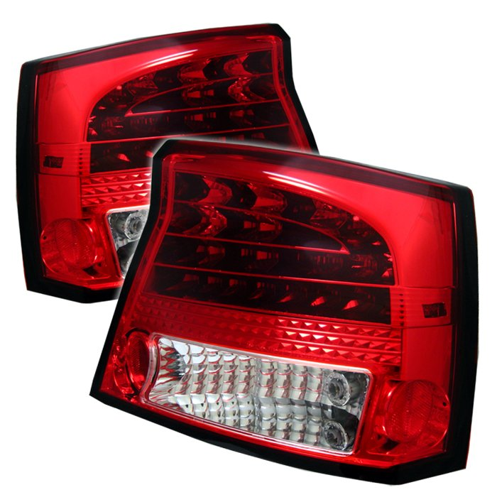 2006 2008 dodge charger led red clear tail lights. Black Bedroom Furniture Sets. Home Design Ideas