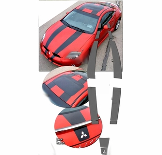 2006-2010 Mitsubishi Eclipse Rally Stripes Graphics Kit 1