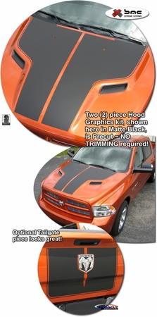 2009-2012 Dodge Ram Hood & Tailgate Graphic Kit 1 w/ Sport Performance Hood
