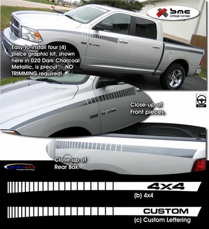 Dodge Ram Truck Body Side Graphics Kit 3 2009-2013