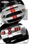 2010-2012 Ford Mustang Shelby GT500 SVT Performance Style Rally Stripe Graphic Kit 1