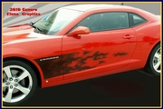 2010-2013  Chevrolet Camaro Black 2pc Air Brushed Flame Sports Fade Side Graphic