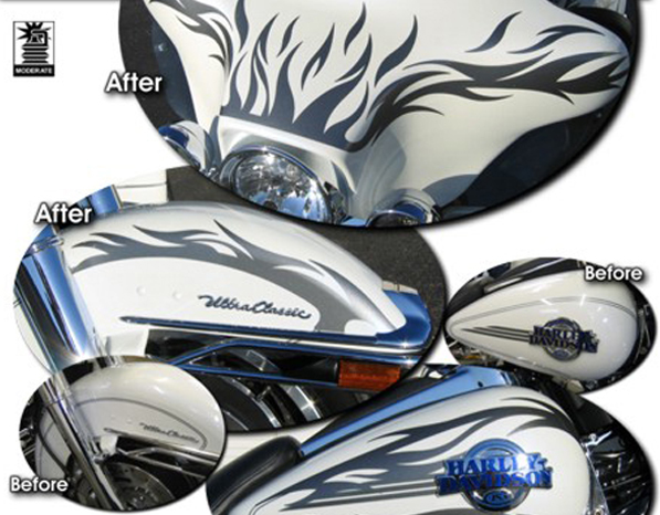 96-Up Harley-Davidson Ultra Classic Electra Glide Flame Graphics Kit 2 - Tribal Flame Design