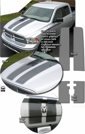 Dodge Ram 1500 Rally Stripes Graphics Kit 2 2009-2014