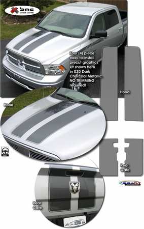 Dodge Ram 1500 Rally Stripes Graphics Kit 2 2009-2013