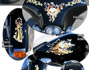 Touring Bike Ripped Metal & Flames Graphics Kit 1