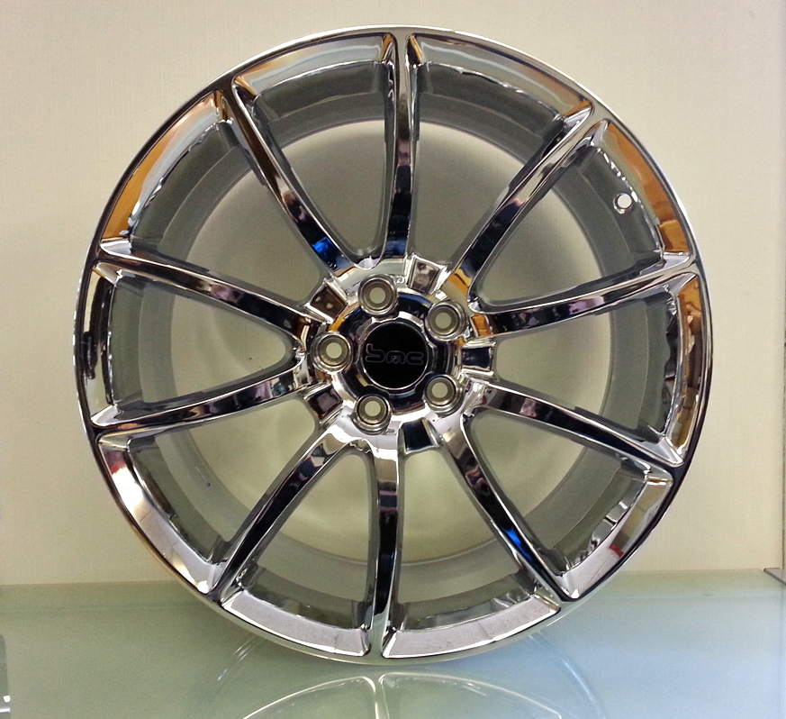 Mustang GT500 Style Chrome 20inch Wheels, Staggered Set